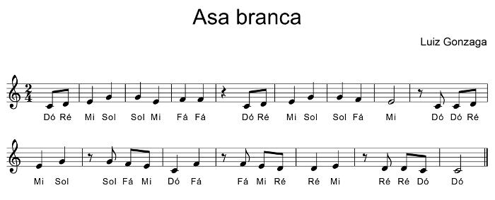 melodia da musica asa branca para